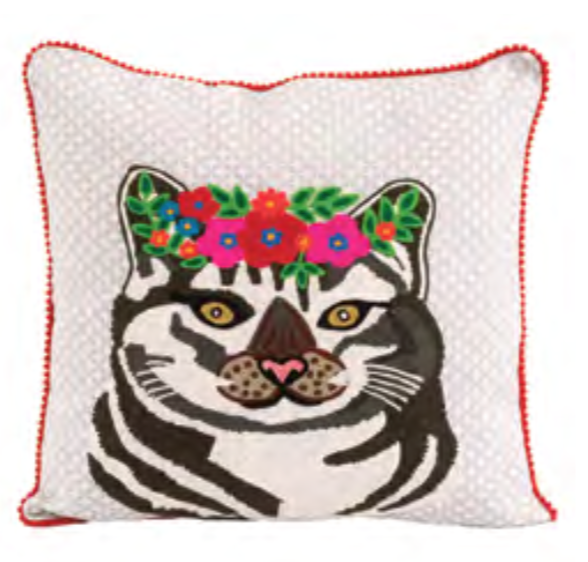 Embroidered Cat with Flowered Crown Pillow