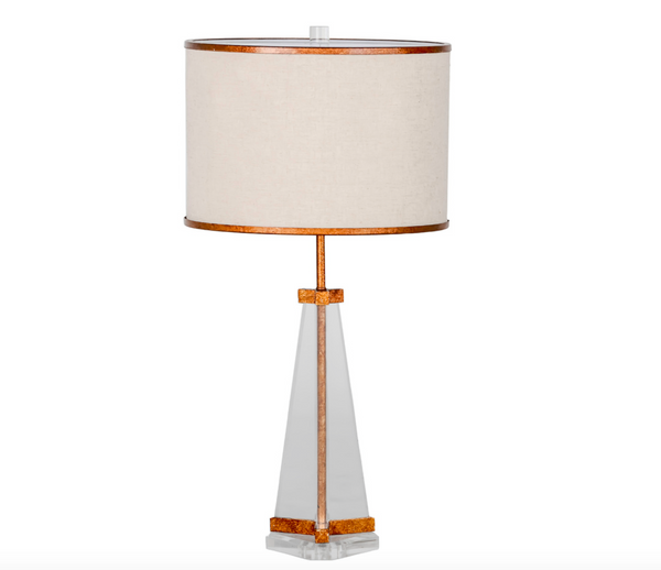 Lucite and Gold Silhouette Table Lamp