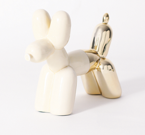 Balloon Dog Bookend Cream & Gold