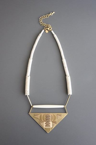 Reversible Necklace in Magnesite Horn & Brass
