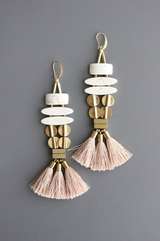 Pair Earrings with silk tassels