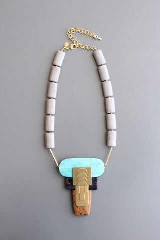Magnesite Jasper and Brass Necklace