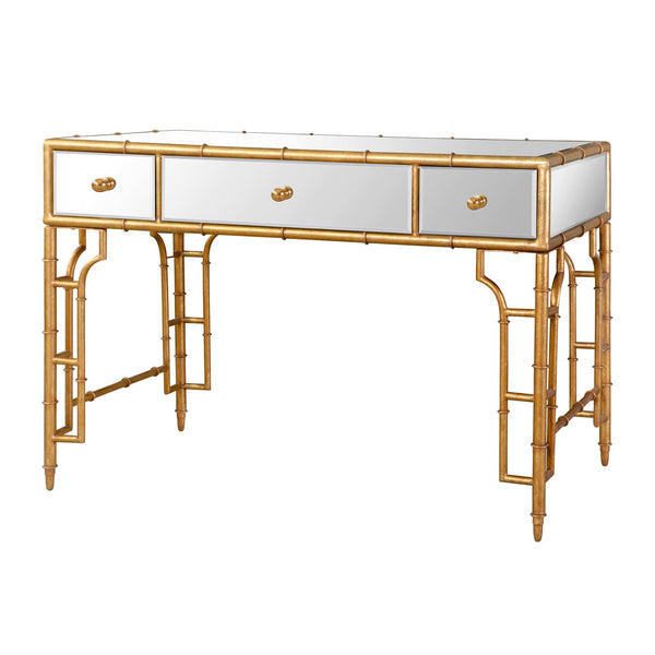 Gold Leaf Bamboo Mirror Desk