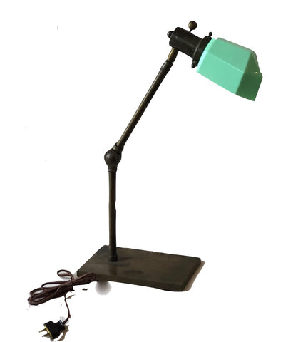 Vintage Task Lamp with Aqua Shade