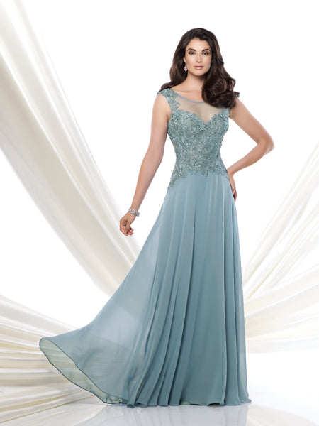 Sleeveless Chiffon and Tulle A-Line Gown