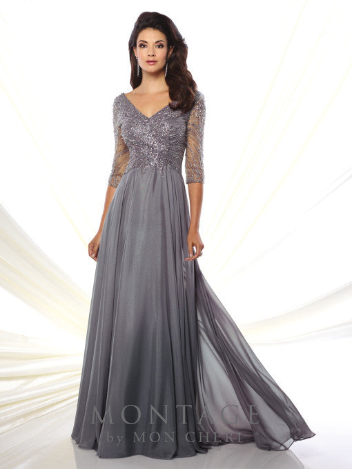 Caroline V-Neck Embellished Gown -Montage By Mon Cheri- Nadia S Evening  - 1