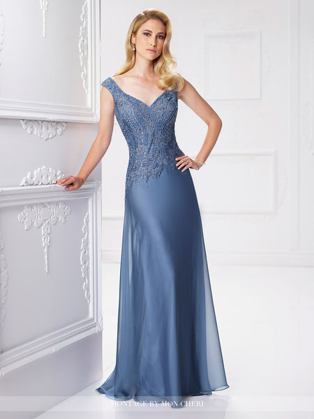 Two-tone chiffon and lace A-line gown