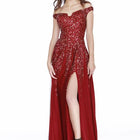 Shail off Shoulder flare sequin gown