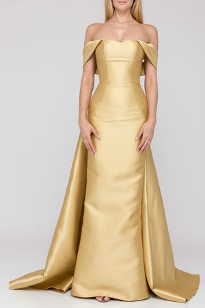 Empress Draped Off Shoulder Gown