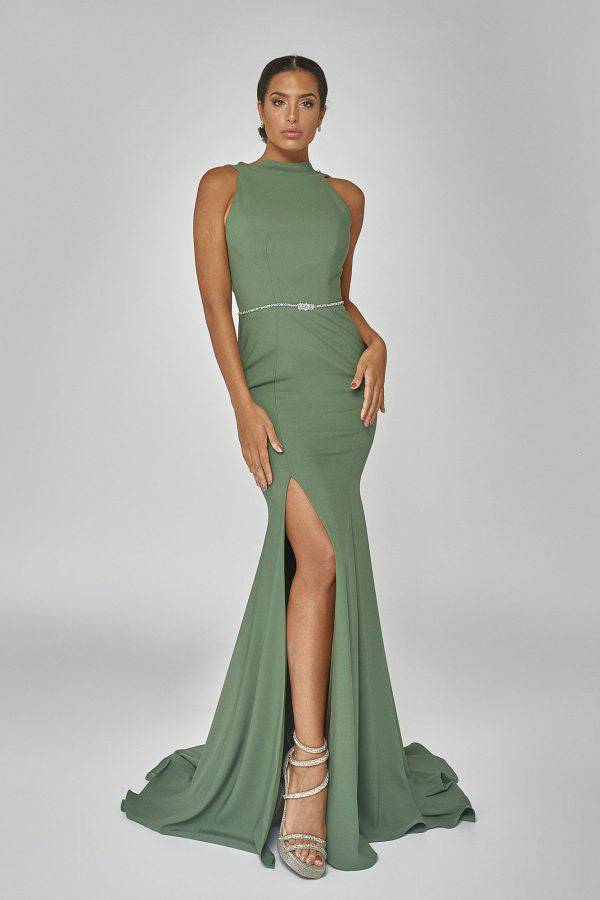 Triple Cowl Back Gown