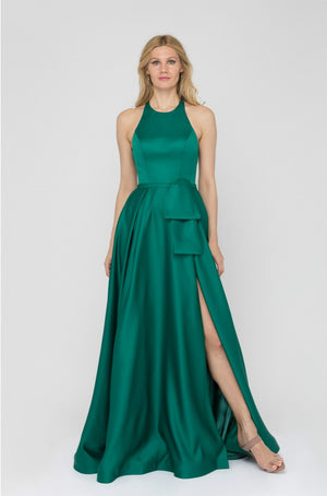 Halter Neck Satin Gown with Peplum