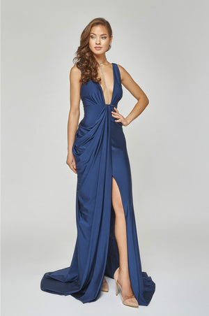 Sexy-Side Draped Grecian Gown