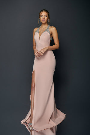 Crystal Halter Neck Floor Length Gown
