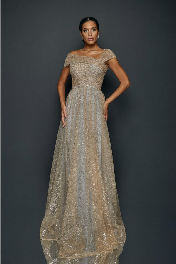 Long Sequin Pleated Gown