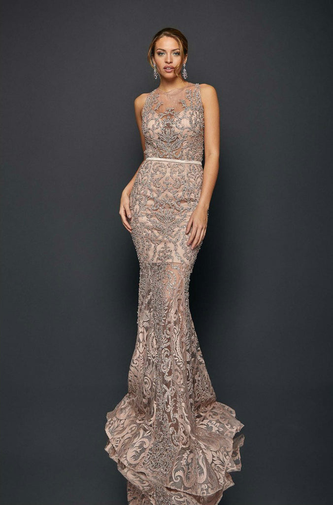 Sleeveless Sheer Embroidered Bead Detailed Long Gown
