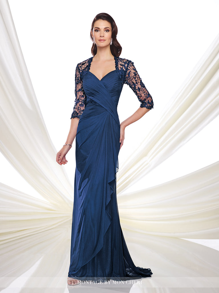 Stretch illusion and lace mock-wrap A-line dress