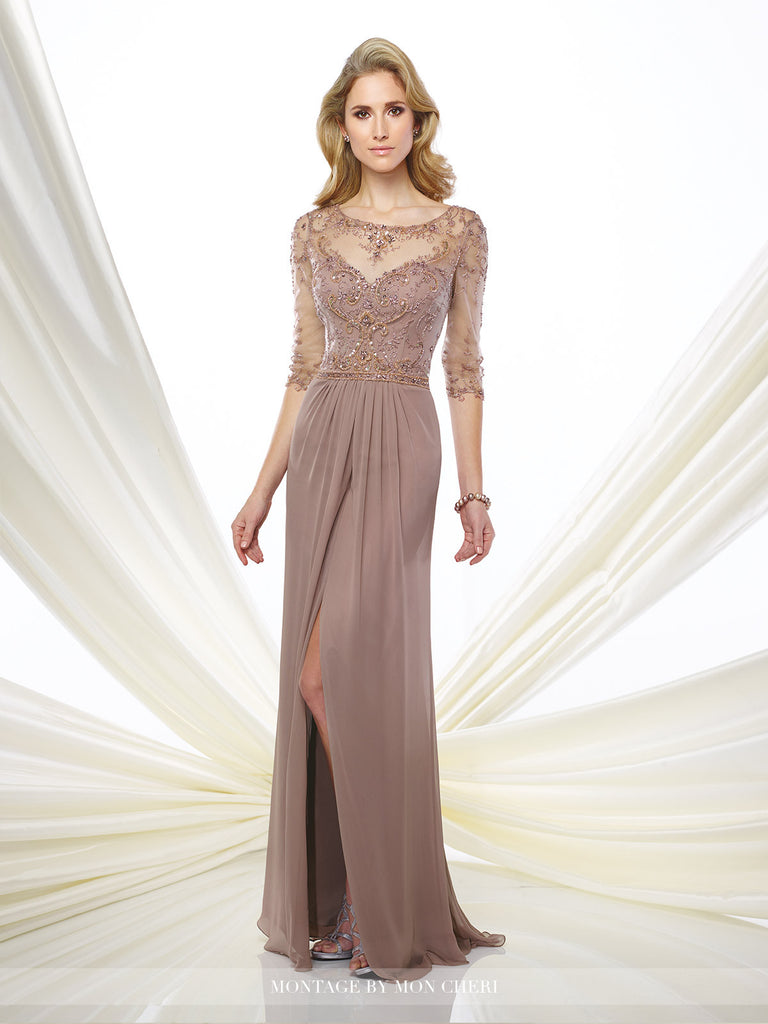 Harper Beaded Chiffon Gown -Montage By Mon Cheri- Nadia S Evening  - 1