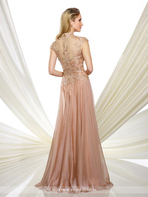 Melony Chiffon Metallic Lace Gown