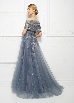 EMBROIDERED FLORAL LACE A LINE GOWN