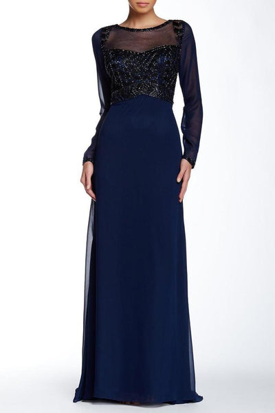 BEADED ILLUSION BATEAU A-LINE DRESS