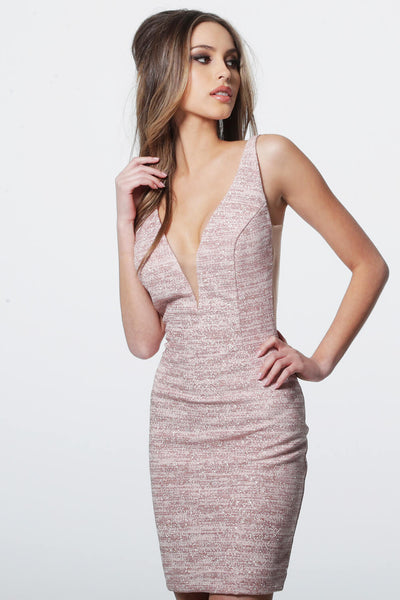 PLUNGING NECKLINE FITTED JERSEY DRESS