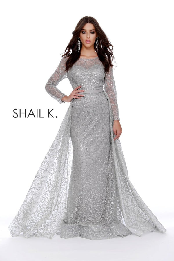 Long Sleeve Full Glitter Couture Dress With Overskirt