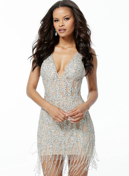 Beaded Plunging Neckline Cocktail Dress