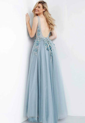 Floral Appliques Backless Prom Gown