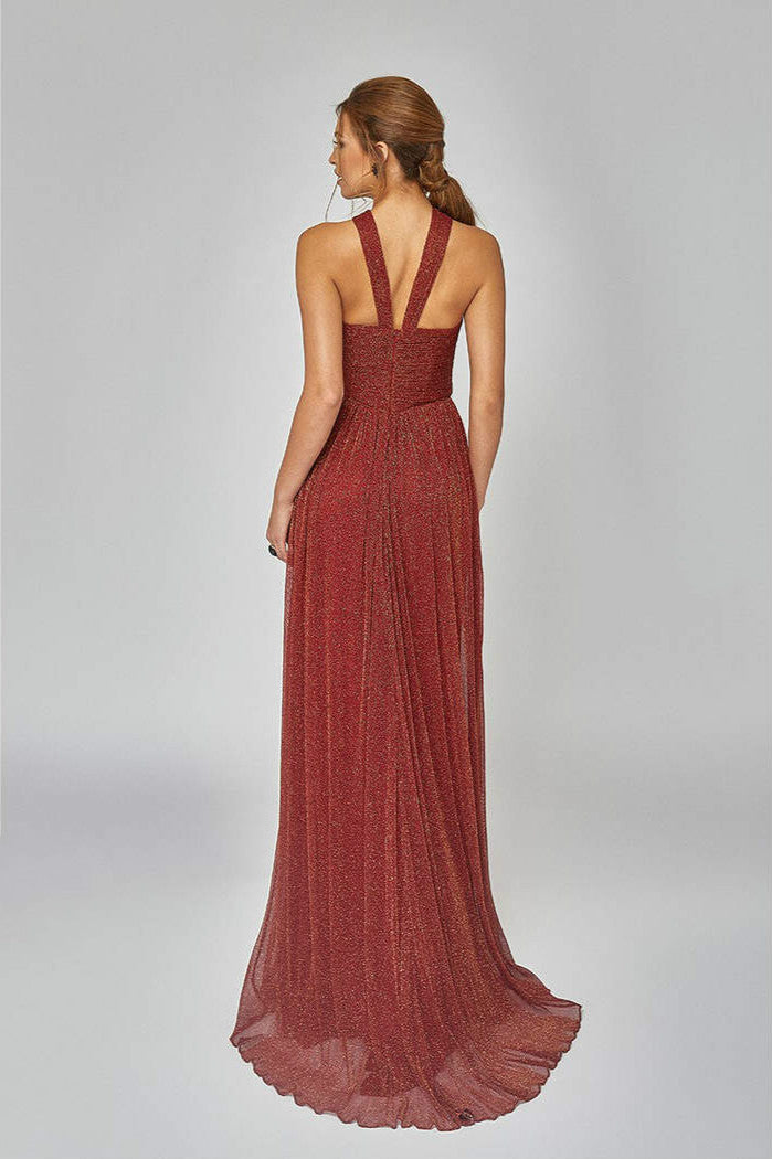 Crystal Pleated Metallic Knit Halter Gown