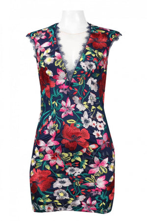 Illusion V-Neck Cutout Back Floral Embroidered Mesh Dress