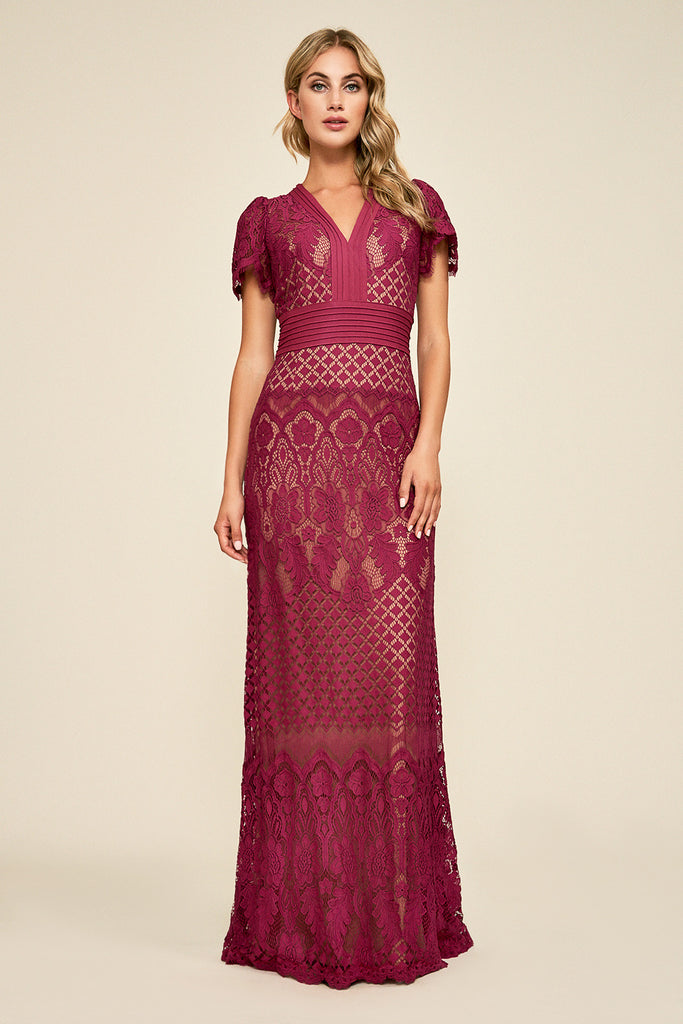 DUMIN LACE GOWN- SANGRIA/NUDE