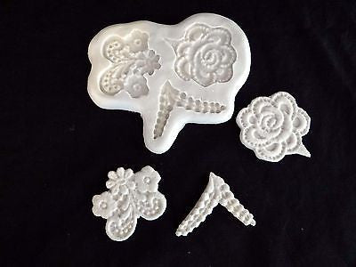 Lace Mold 4 Piece Set Floral Design Lace Flower Silicone Mold