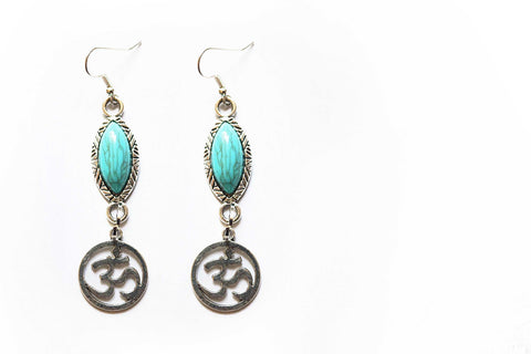 Turquoise Om Drop Earrings
