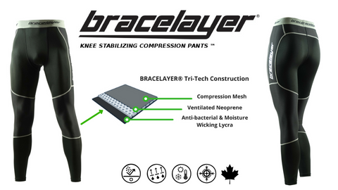 Bracelayer Knee Compression Pants Tri-Tech antibacterial Lycra ventilated neoprene