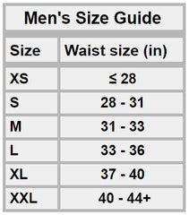 Men's Bracelayer Compression Tights Size Chart
