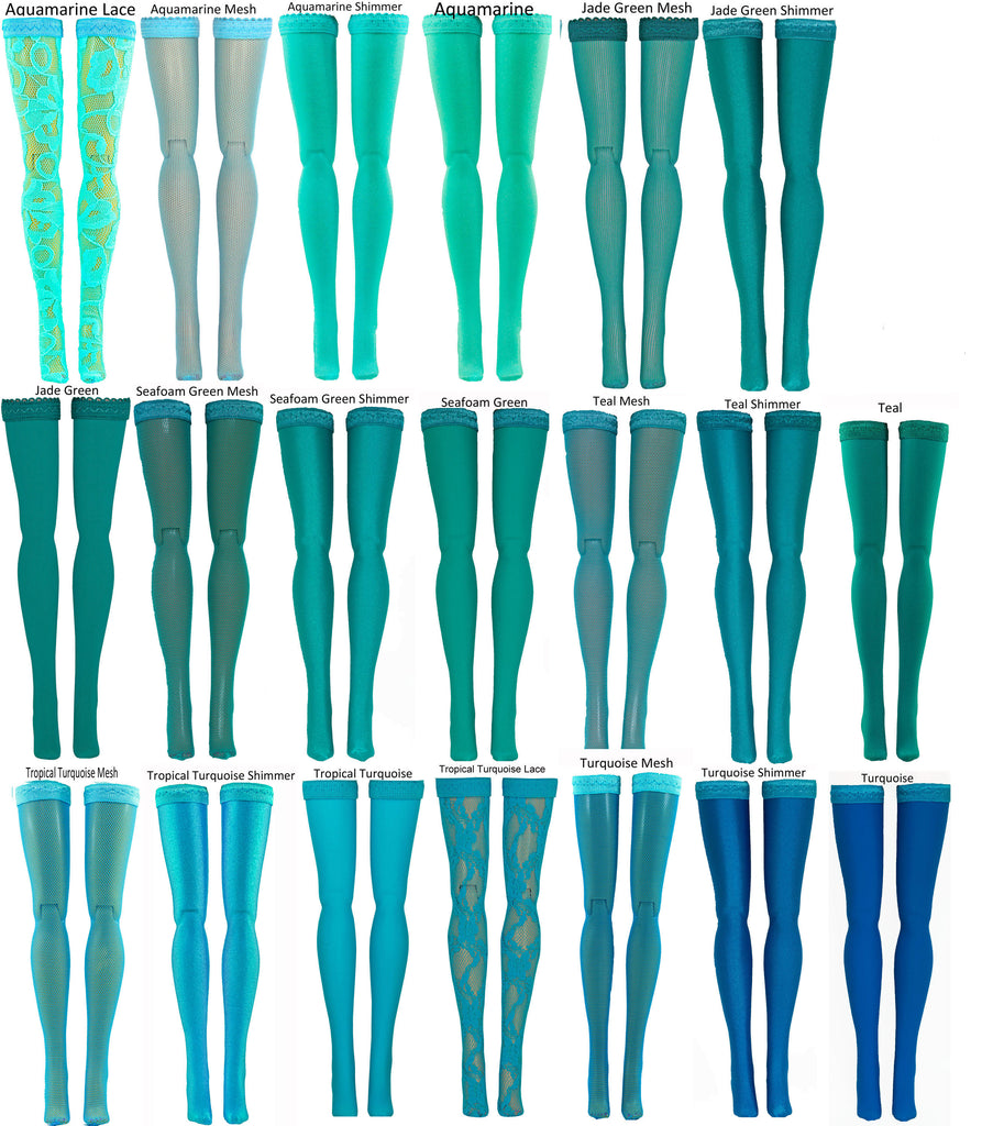 "Aqua Doll Stockings for Barbie - Francie - Skipper - Ken - Stacey - Fashionista - Curvy - Tall - Petite - Silkstone - 17"" Barbie - 18"" Supersize Barbie - Stacey - Tutti"