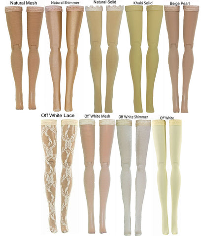Beige Doll Stockings for 1/6 Scale Figures - Phicen - Hot Toys - Cy Girls - Kumik - Triad - Dollfie - Momoko - Obitsu - Gildebrief French Fashion - Doll Clothes