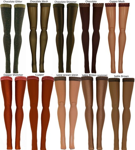 "Brown Doll Stockings for Barbie - Francie - Skipper - Ken - Stacey - Fashionista - Curvy - Tall - Petite - Silkstone - 17"" Barbie - 18"" Supersize Barbie - Stacey"