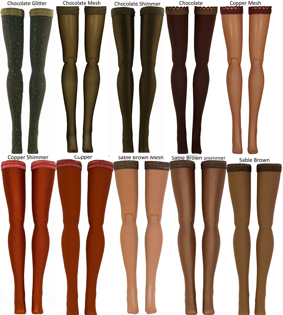 Brown Doll Stockings for 1/6 Scale Figures - Phicen - Hot Toys - Cy Girls - Kumik - Triad - Dollfie - Momoko - Obitsu - Gildebrief French Fashion - Doll Clothes