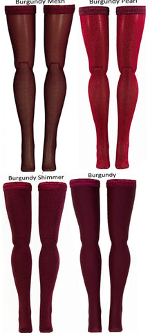 Burgundy Doll Stockings for 1/6 Scale Figures - Phicen - Hot Toys - Cy Girls - Kumik - Triad - Dollfie - Momoko - Obitsu - Gildebrief French Fashion - Doll Clothes
