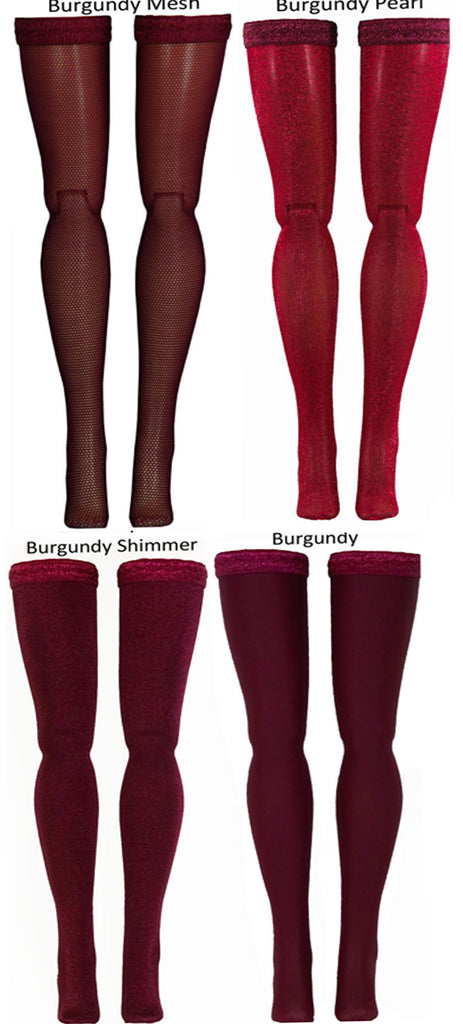 "Burgundy Doll Stockings for Barbie - Francie - Skipper - Ken - Stacey - Fashionista - Curvy - Tall - Petite - Silkstone - 17"" Barbie - 18"" Supersize Barbie - Stacey"