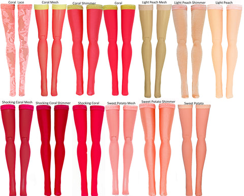 "Coral/Peach Doll Stockings for Barbie - Francie - Skipper - Ken - Stacey - Fashionista - Curvy - Tall - Petite - Silkstone - 17"" Barbie - 18"" Supersize Barbie - Stacey"