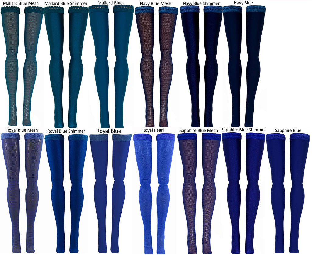 Dark Blue Doll Stockings for 1/6 Scale Figures - Phicen - Hot Toys - Cy Girls - Kumik - Triad - Dollfie - Momoko - Obitsu - Gildebrief French Fashion - Doll Clothes