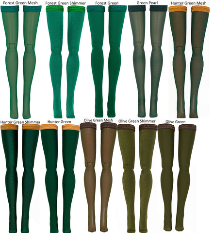 Dark Green Doll Stockings for 1/6 Scale Figures - Phicen - Hot Toys - Cy Girls - Kumik - Triad - Dollfie - Momoko - Obitsu - Gildebrief French Fashion - Doll Clothes