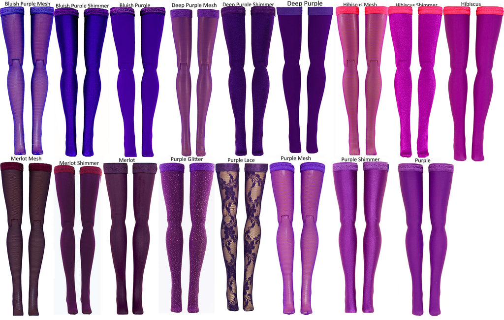 Dark Purple Doll Stockings to fit Bratzilla - Moxie Teen - Liv - DC Heroes - Dolls - Doll Clothes