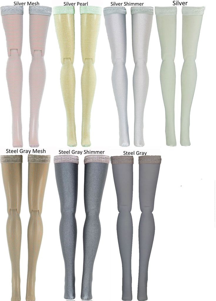 Gray Doll Stockings for 1/6 Scale Figures - Phicen - Hot Toys - Cy Girls - Kumik - Triad - Dollfie - Momoko - Obitsu - Gildebrief French Fashion - Doll Clothes