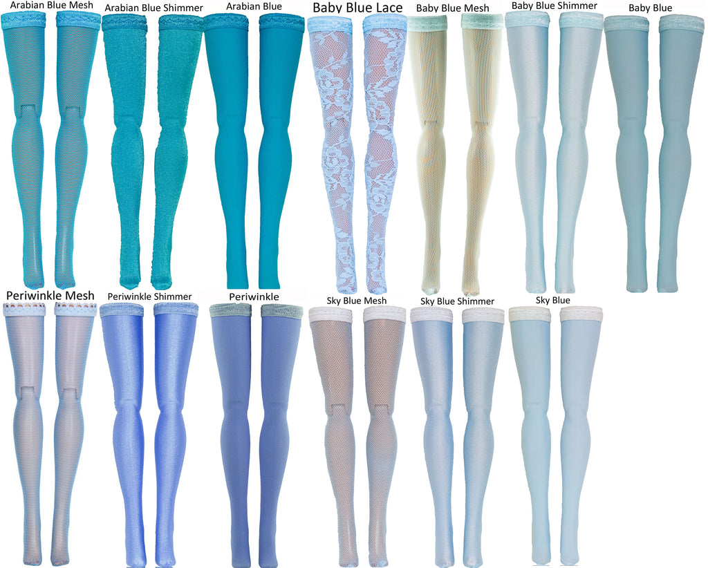 "Light Blue Doll Stockings for Barbie - Francie - Skipper - Ken - Stacey - Fashionista - Curvy - Tall - Petite - Silkstone - 17"" Barbie - 18"" Supersize Barbie - Stacey"