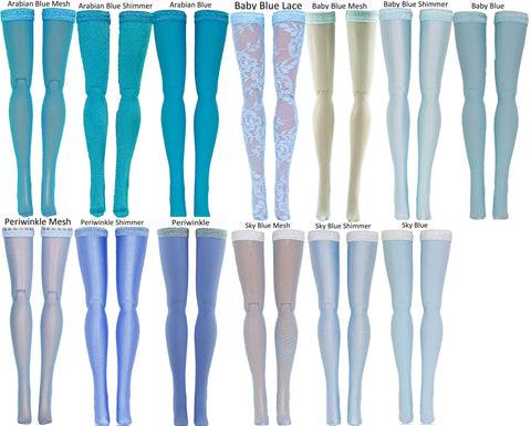Light Blue Doll Stockings for 1/4 Scale BJD's - Dollshe - Fairyland - Volks - Luts - Popovy - Sybarite - Doll Chateau - Jamie Show - Minifee - Doll Clothes