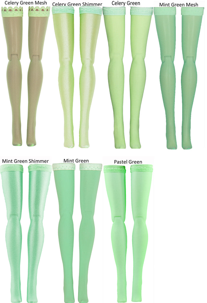 "Light Green Doll Stockings for Barbie - Francie - Skipper - Ken - Stacey - Fashionista - Curvy - Tall - Petite - Silkstone - 17"" Barbie - 18"" Supersize Barbie - Stacey"