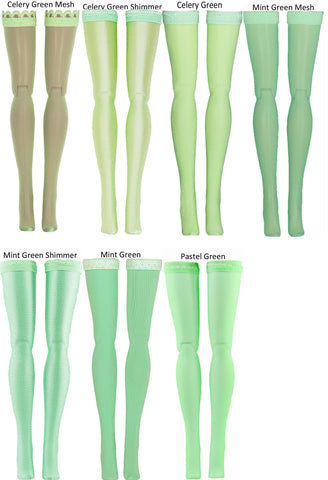 Light Green Doll Stockings fitting 1/4 Scale child dolls such as Mary Hoyer - Kaye Wiggs - Kish - Doll Clothes - All Lengths